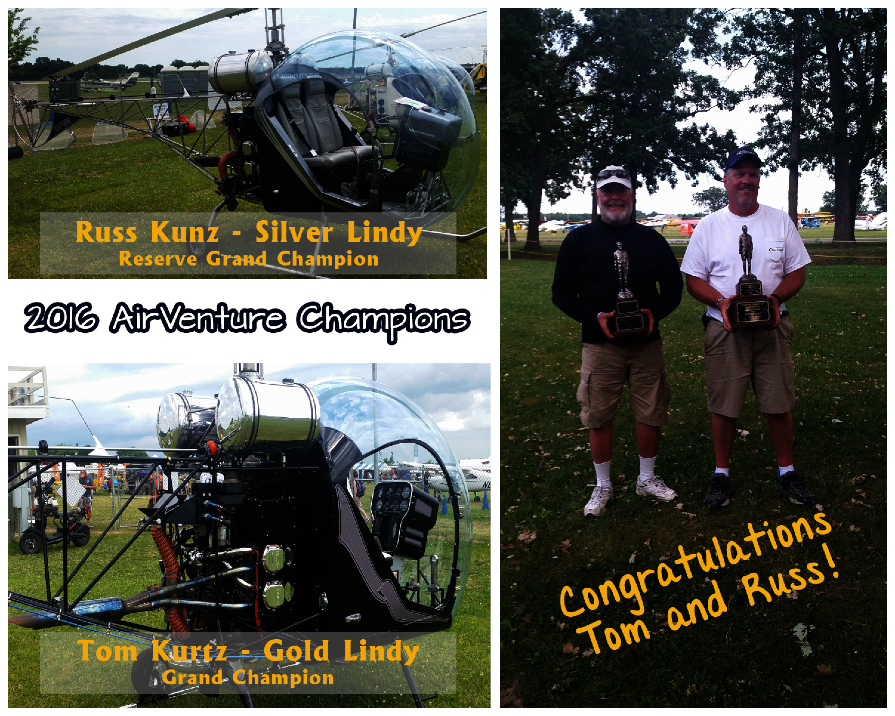 Congratulations to Russ Kunz and Tom Kurtz on your accomplishments and winnings at AirVenture 2016!